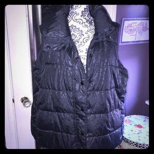 Gray Leopard Print Puffer Vest